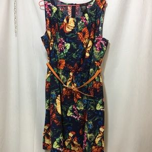 B Smart Dress Colorful Floral Knee Length w/ Belt